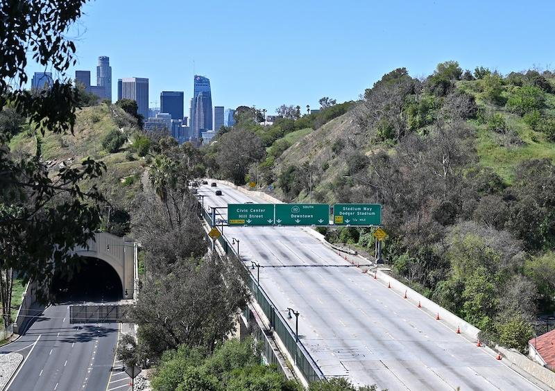 Downtown L.A., empty freeway