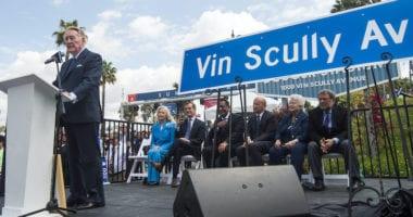 Eric Garcetti, Stan Kasten, Vin Scully, Sandra Scully, Vin Scully Avenue ceremony