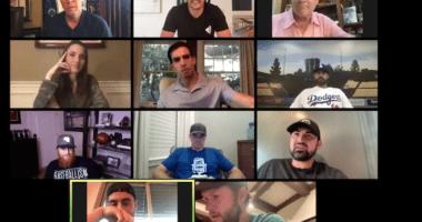 Cody Bellinger, Joe Davis, Andre Ethier, Steve Garvey, Adrian Gonzalez, Orel Hershiser, Clayton Kershaw, Ross Stripling, Justin Turner, Dodgers Zoom party