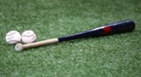 Baseballs, bat