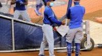 Brant Brown, Dave Roberts, Dodgers batting practice