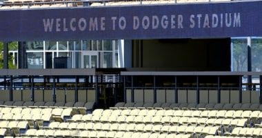 Dodger Stadium sign, empty seats