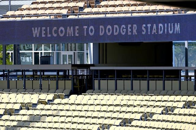 Dodger Stadium sign, empty seats