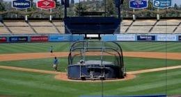 Dodger Stadium view, batting practice