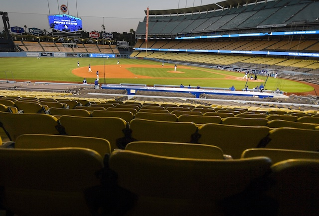Dodger Stadium view, intrasquad game, 2020 Spring Training