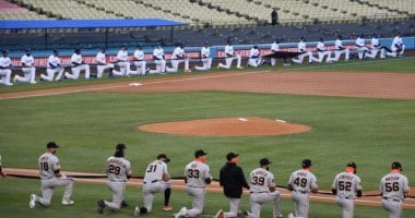 Dodgers, Giants, kneeling, 2020 Opening Day