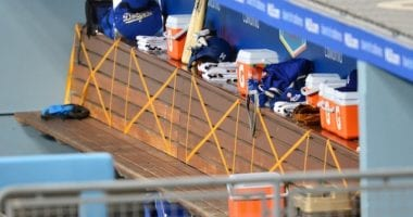 Dugout physical distancing markers, 2020 Spring Training