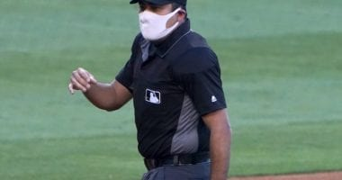 Home-plate umpire, mask, 2020 Spring Training