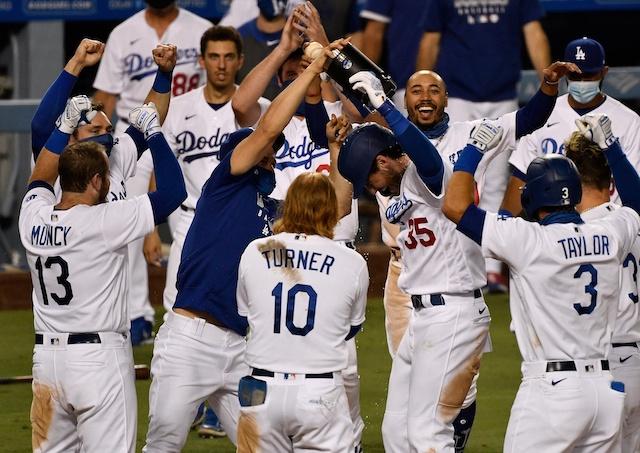 Austin Barnes, Cody Bellinger, Mookie Betts, Max Muncy, AJ Pollock, Chris Taylor, Justin Turner, Dodgers walk-off win