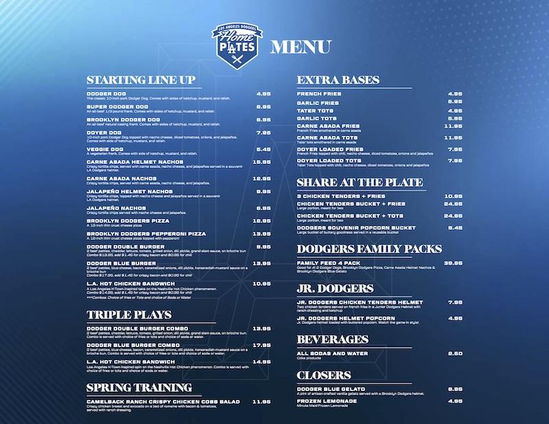 Dodger Stadium food Home Plates menu