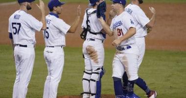 Austin Barnes, Adam Kolarek, Joc Pederson, Will Smith, Alex Wood, Dodgers win