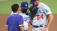 Caleb Ferguson, Dave Roberts, Dodgers trainer