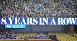 Dodgers, Dodger Stadium board, 2020 NL West