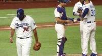 Austin Barnes, Kenley Jansen, Dave Roberts, Justin Turner, pitching change, 2020 NLDS
