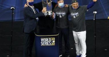 Andrew Friedman, Stan Kasten, Dave Roberts, Mark Walter, 2020 World Series