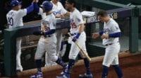 Cody Bellinger, Mookie Betts, Bob Geren, Joc Pederson, Dave Roberts, 2020 World Series