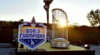 2020 World Series trophy, world champions sign, 2020 Dodgers Holiday Festival