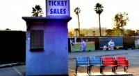 Old tickets booth, old Dodger Stadium seats, 2020 Dodgers Holiday Festival