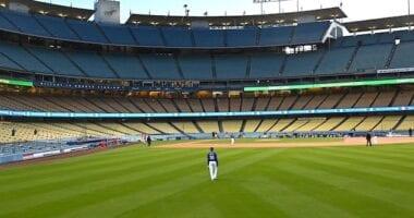 Mookie Betts, Dodger Stadium view, 2021 Spring Training