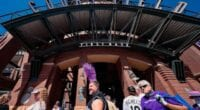 Rockies fans, Coors Field entrance, 2021 Opening Day