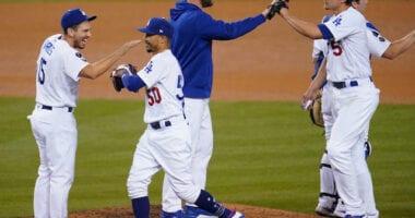 Austin Barnes, Mookie Betts, Clayton Kershaw, Corey Seager, Dodgers win