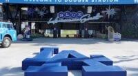 Dodger Stadium center field plaza, LA logo