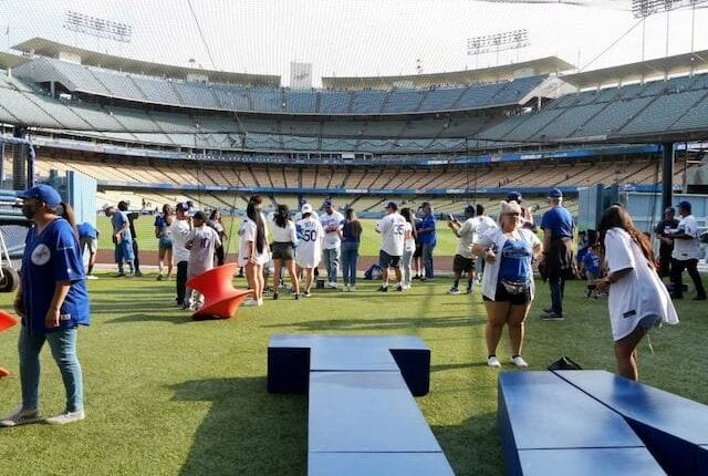 Dodgers fans, center field plaza turf area
