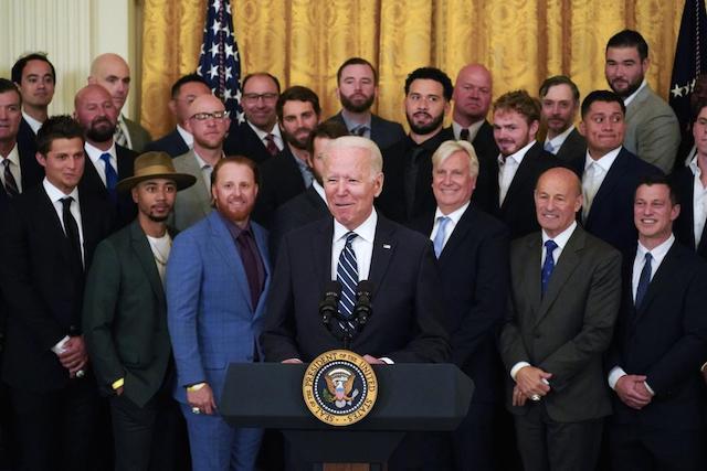 Matt Beaty, Mookie Betts, Andrew Friedman, Victor Gonzalez, Gavin Lux, Edwin Rios, Chris Taylor, Justin Turner, Mark Walter, President Joe Biden, White House visit