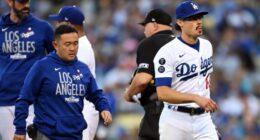 "Joe Kelly, Mark Prior, Dave Roberts, Dodgers trainer Yosuke ""Possum"" Nakajima, 2021 NLCS"